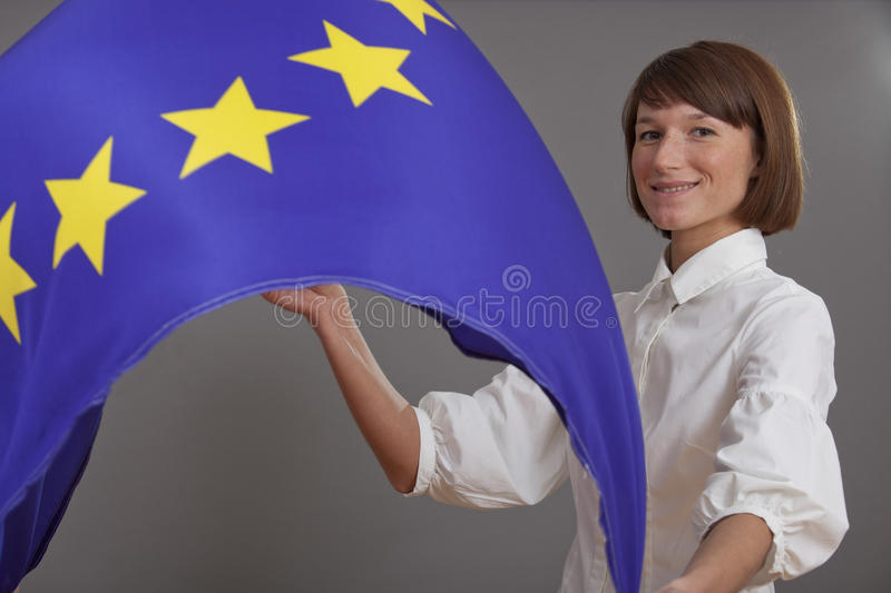 Download Woman waving european flag stock photo. Image of union - 23130414