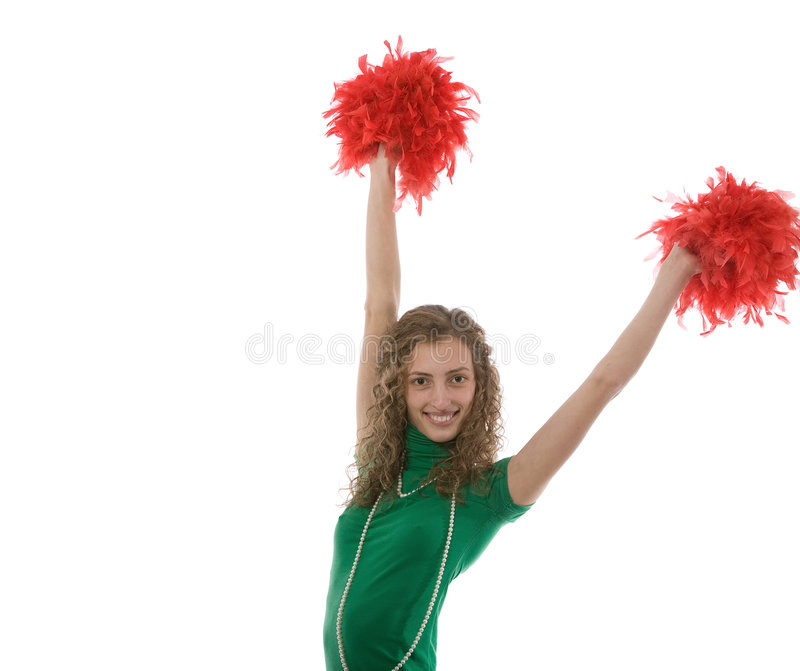 Woman waving pom poms stock images