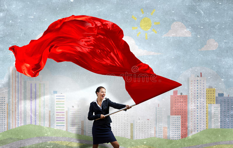 Download Woman waving red flag stock photo. Image of victory, flag - 66559290