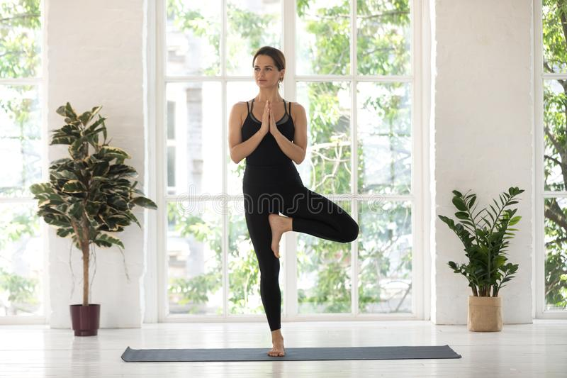 Yogini beautiful woman practise yoga performs Tree pose asana indoors. Woman wear black activewear practise yoga performs Tree pose standing on mat inside of royalty free stock photos