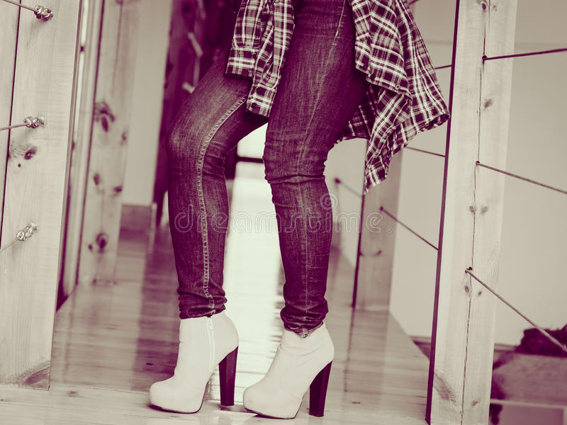 Woman wear casual clothes high heels indoor. royalty free stock photo