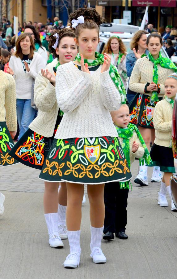 Woman wear Ireland costume on St. Patrick`s Day Parade. Woman wear Ireland costume on St. Patrick`s Day street Parade royalty free stock images