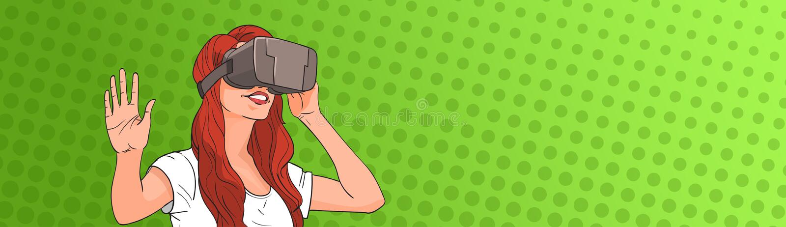 Woman Wear Virtual Reality Digital Glasses Pop Art Colorful Retro Style vector illustration