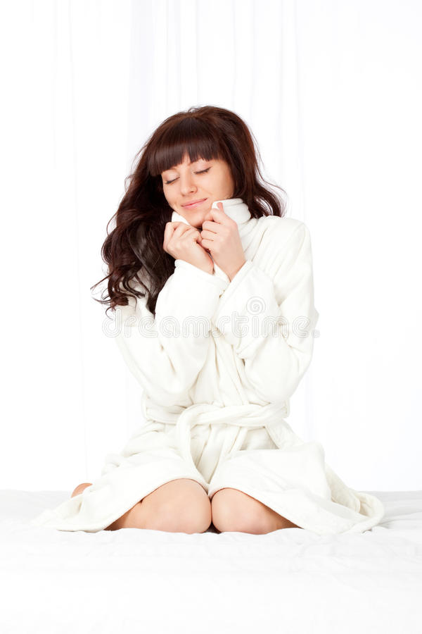 Download Woman wearing bathrobe stock photo. Image of beauty, girl - 19375638