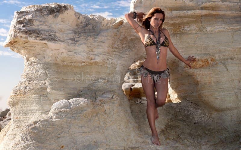 Woman wearing bikini stock image