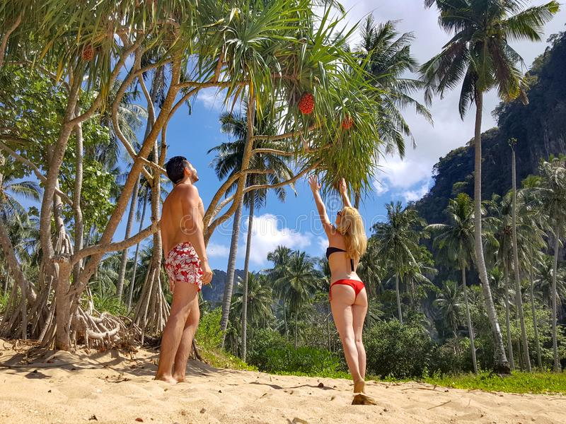 Woman Wearing Black Bikini Top and Red Bottom Beside Man Wearing White and Red Floral Shorts royalty free stock photography
