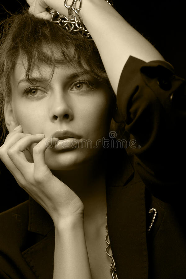 Download Woman Wearing Black Jacket With Chains Stock Photo - Image of hairstyle, elegance: 29438194