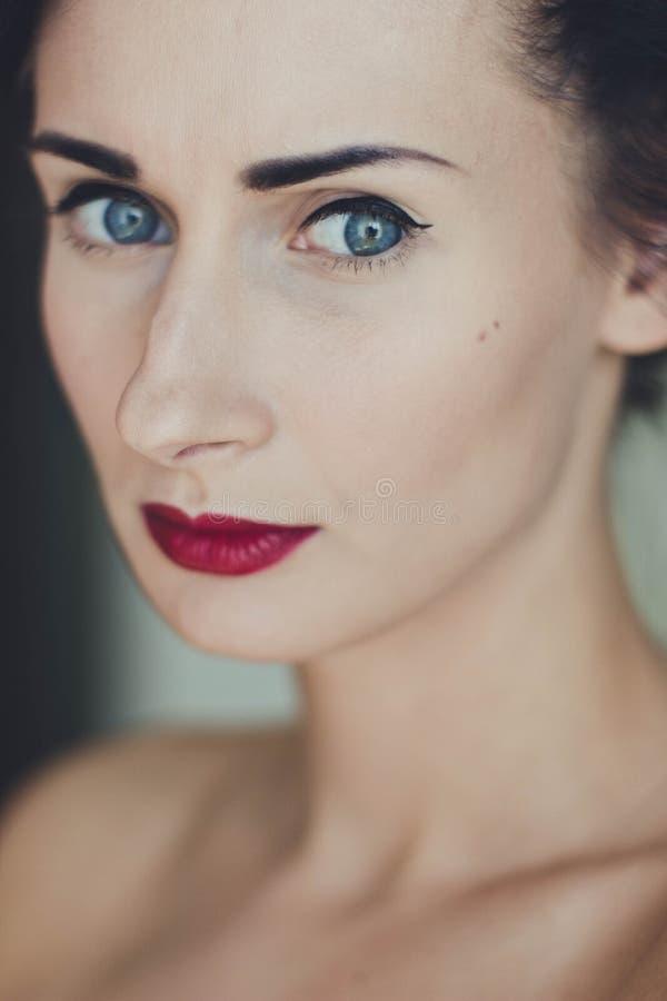 Woman Wearing Black Mascara And Red Lipstick Free Public Domain Cc0 Image