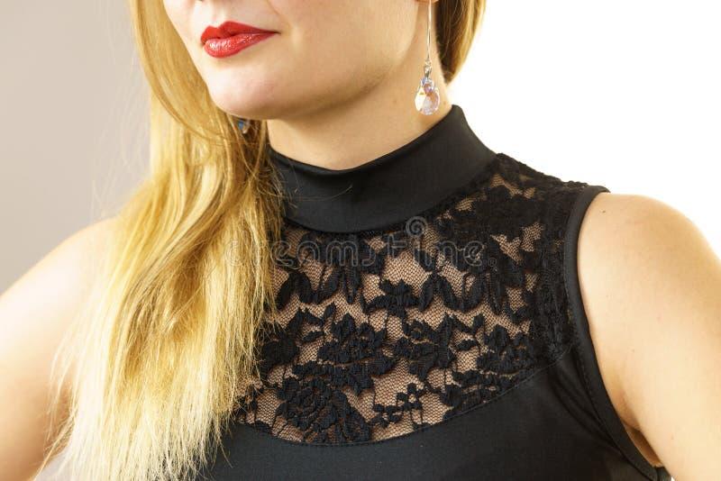Woman wearing black top royalty free stock image