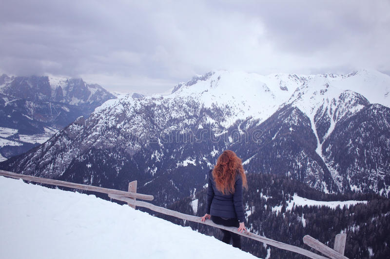 Woman Wearing Blue Bubble Coat At The Pick Of The Mountain During Winter Season Free Public Domain Cc0 Image