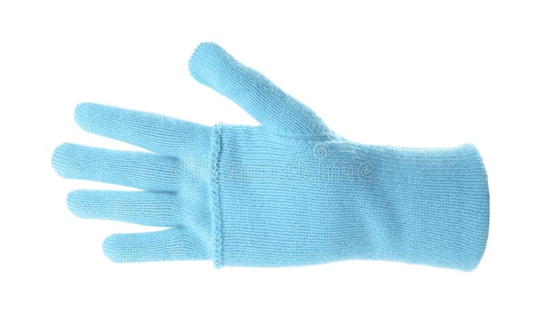 Woman wearing blue glove on white background. Autumn clothes royalty free stock photos