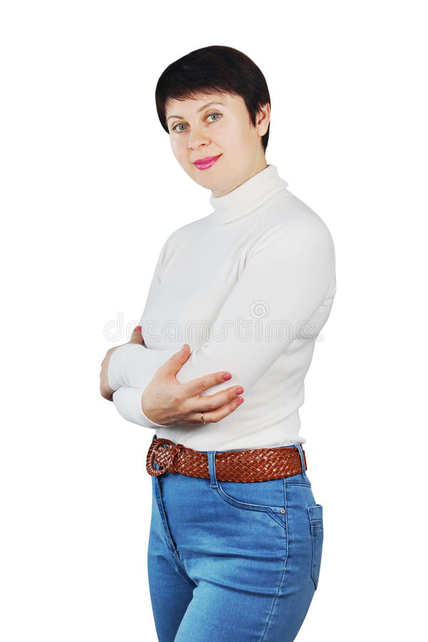Download Woman Wearing Blue Jeans And White Turtleneck Stock Photo - Image: 29816110