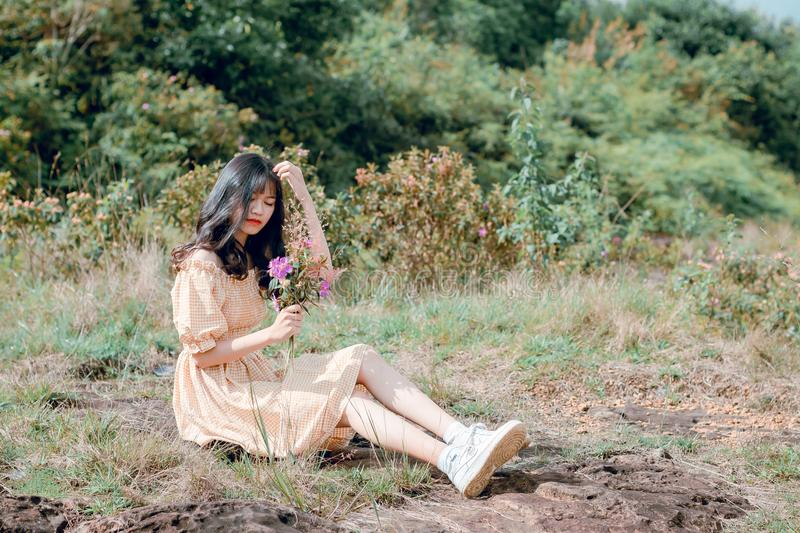 Woman Wearing Brown Dress Sitting on Grasses While Holding Purple Flowers royalty free stock photos