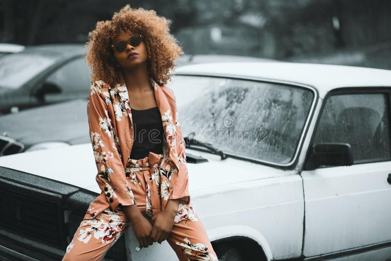 Woman Wearing Brown Floral Print Coat and Pants Sitting on Car royalty free stock images