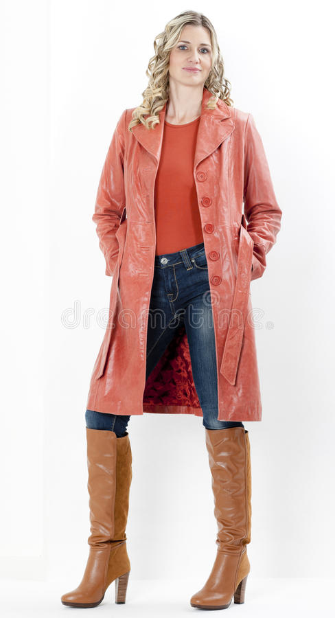 Download Woman wearing coat stock photo. Image of indoors, standing - 27009868