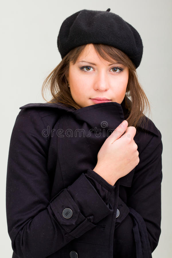 Download Woman Wearing In A Coat And Beret Stock Photo - Image: 17518048