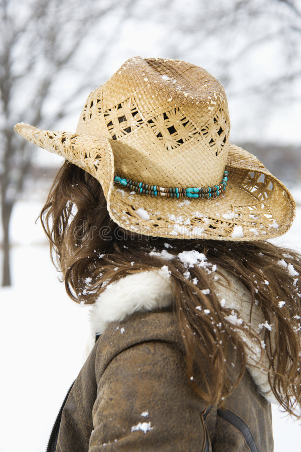 Woman wearing cowboy hat. stock image