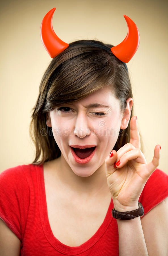 Download Woman wearing devil horns stock photo. Image of evil - 23152610