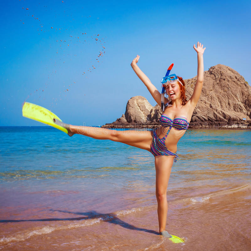 Woman Wearing Diving Equipment Royalty Free Stock Image