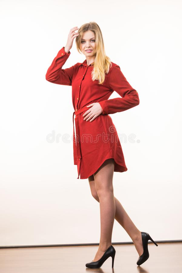 Free Woman Wearing Elegant Casual Red Dress Stock Photography - 163184282