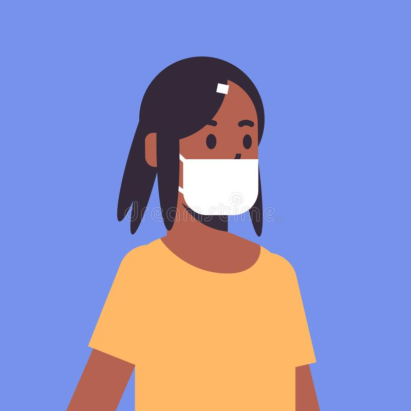 Woman wearing face mask environmental industrial smog dust toxic air pollution and virus protection concept african. American female cartoon character portrait vector illustration