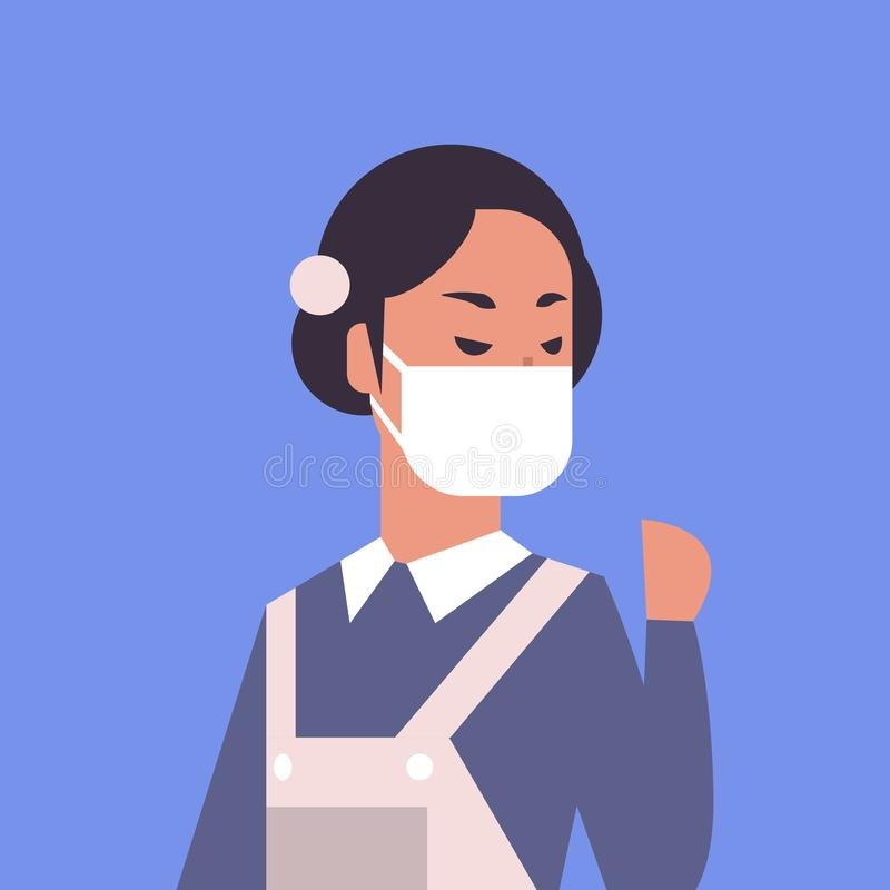 Woman wearing face mask environmental industrial smog dust toxic air pollution and virus protection concept female. Cartoon character portrait flat vector vector illustration