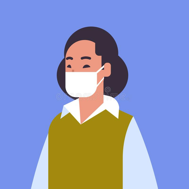 Woman wearing face mask environmental industrial smog dust toxic air pollution and virus protection concept female. Cartoon character portrait flat vector stock illustration