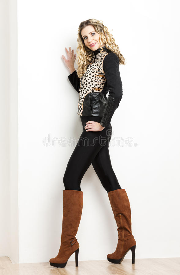 Woman Wearing Fashionable Brown Boots Stock Photo Image Of Female