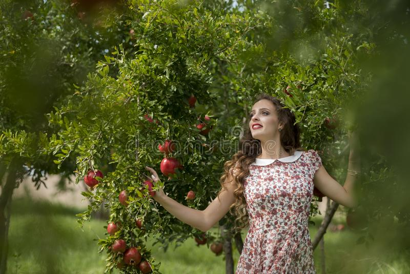 Woman wearing floral long dress against pomegranate trees. Young woman wearing floral long dress standing against pomegranate trees, the model look away having royalty free stock photography