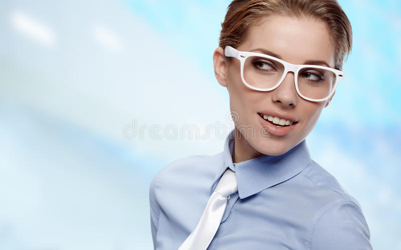 Woman Wearing Glasses in office royalty free stock images