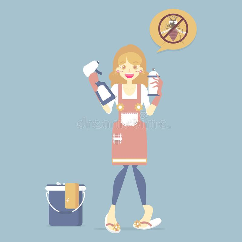 Woman wearing glove holding spray and clean solution with bucket, pest control, anti bug and mosquito, cleaning concept stock illustration