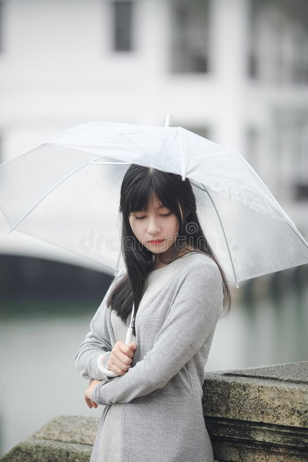 Woman Wearing Gray Sweater Holding Clear Umbrella stock photography