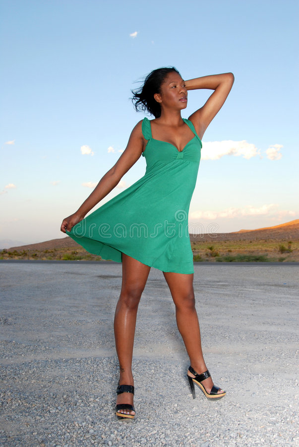 Download Woman wearing green dress. stock photo. Image of pretty - 7826014