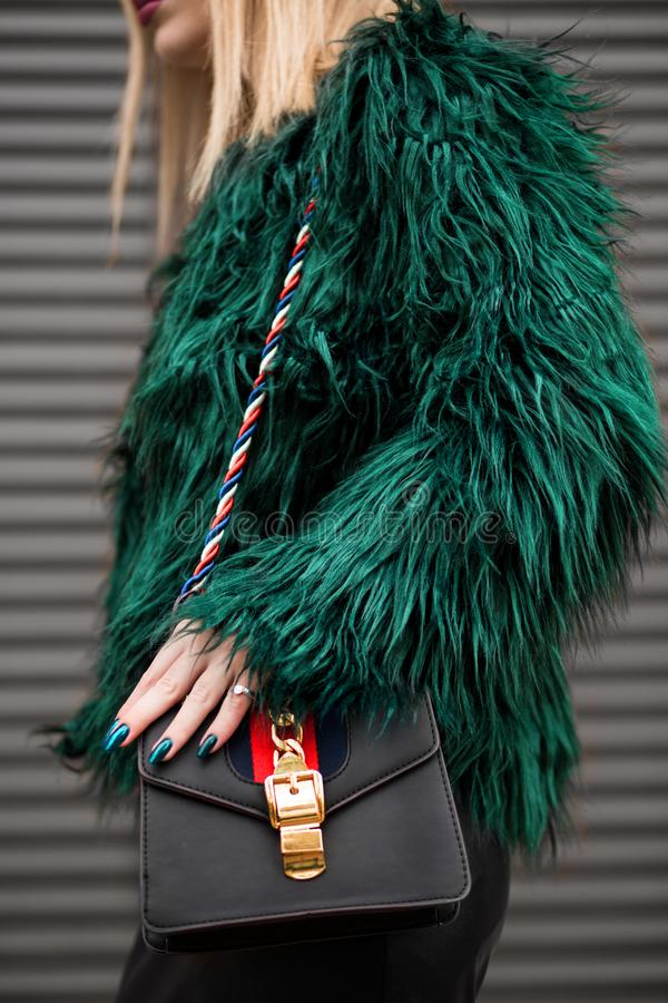 Woman Wearing Green Fur Jacket stock photography