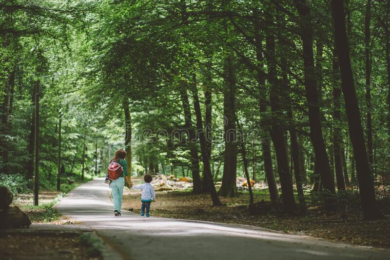 Woman Wearing Green Shirt and Red Bag Holding Children Wearing White Long Sleeve Shirt Walking royalty free stock images