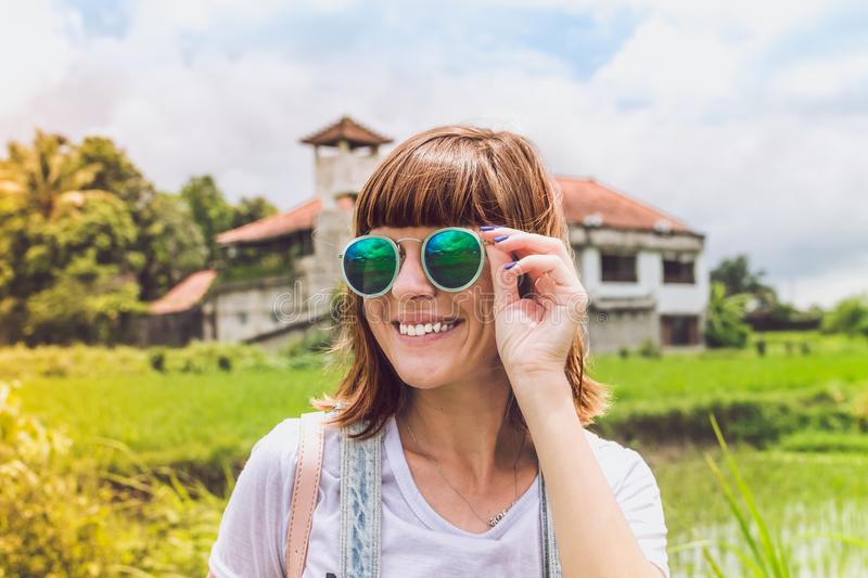 Woman Wearing Green Sunglasses royalty free stock photo