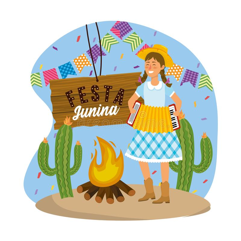 Woman wearing hat with accordion and party banner. Vector illustration vector illustration