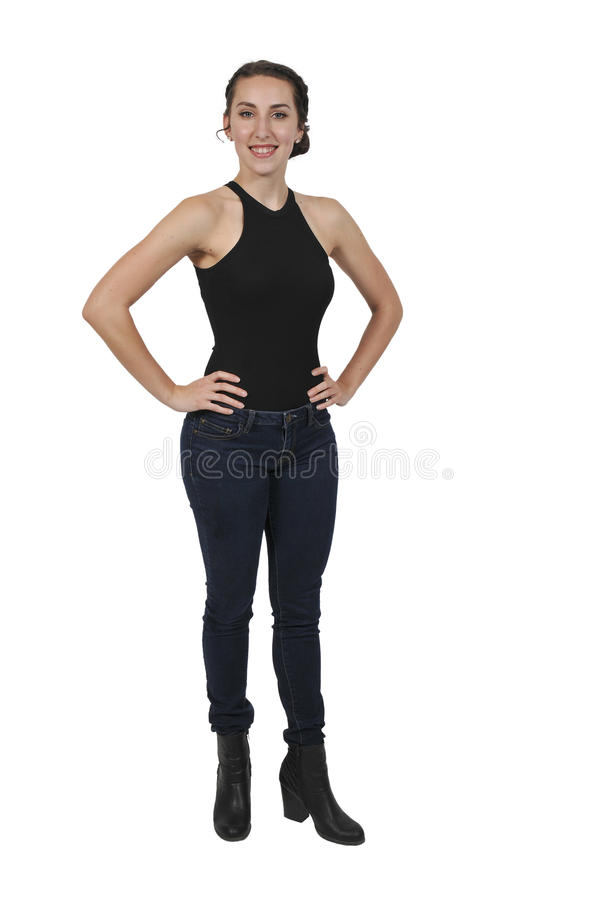 Woman wearing jeans royalty free stock photo
