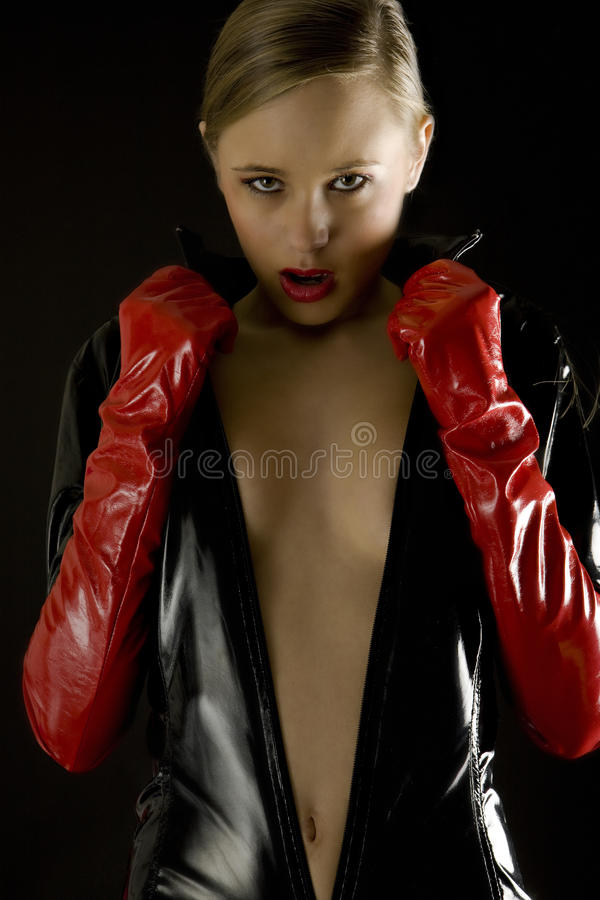 Download Woman Wearing Latex Clothes Stock Image - Image: 14123571