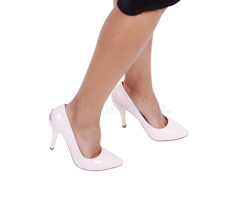 Woman wearing leather high heels stilettos shoes stock photos