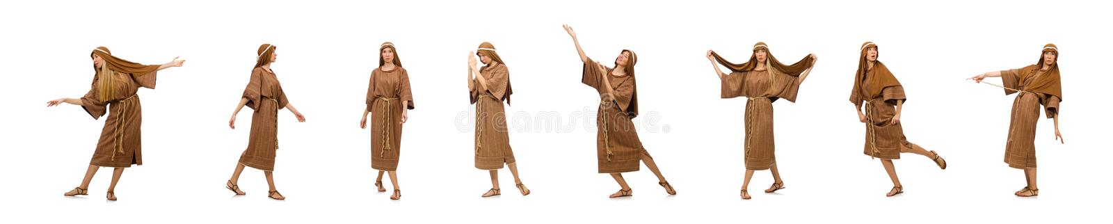Woman wearing medieval arab clothing on white. The woman wearing medieval arab clothing on white stock image