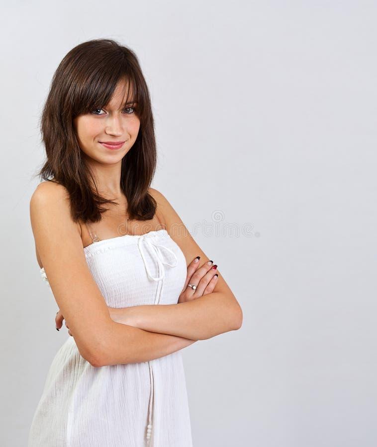 Woman wearing a nice summer dress stock photos