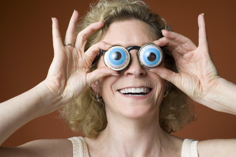 Woman wearing novelty eyeglasses