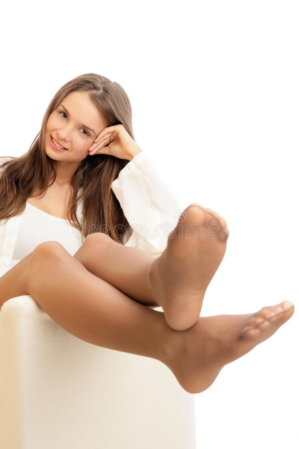 Woman wearing pantyhose royalty free stock photo