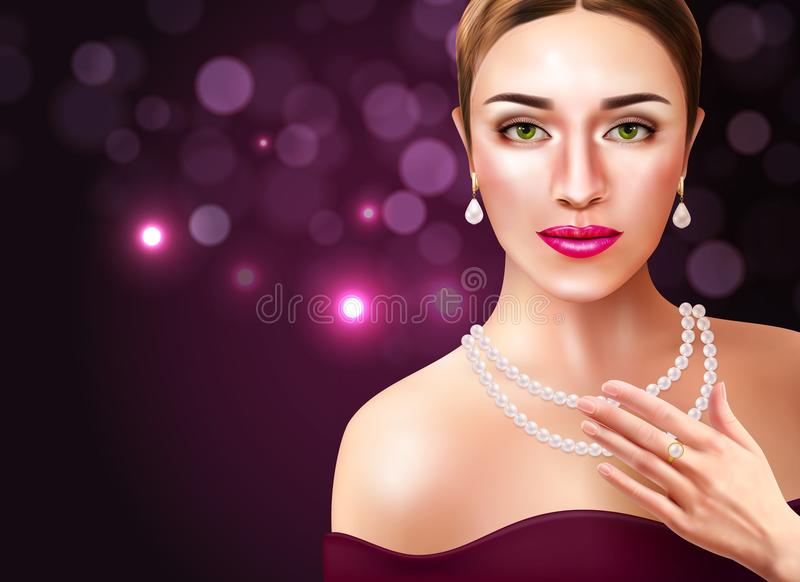 Woman Wearing Pearls Illustration. Woman wearing pearls accessories with beauty and fashion symbols realistic vector illustration stock illustration