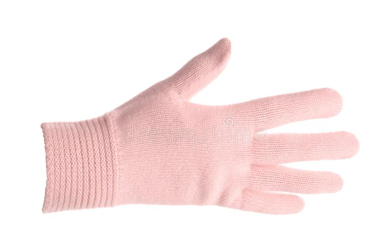 Woman wearing pink glove on white background. Autumn clothes stock image