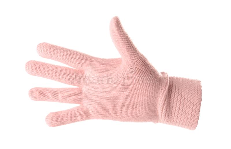 Woman wearing pink glove on white background. Autumn clothes stock images