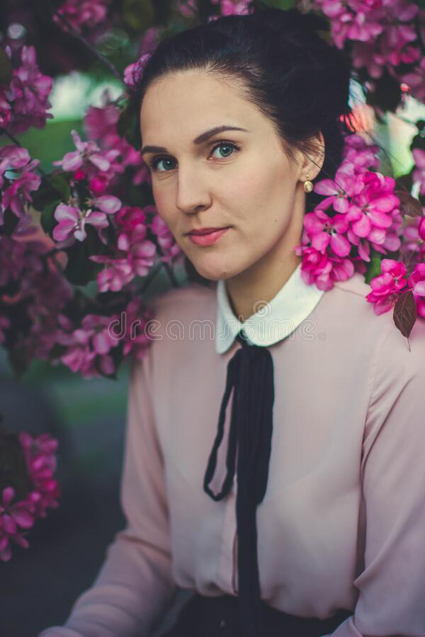 Woman Wearing Pink And White Collared Long Sleeve Dress Shirt Under Blooming Pink Petaled Flower Free Public Domain Cc0 Image