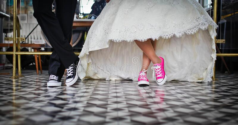 Woman Wearing Pink and White Low Top Shoes Dancing Beside Man stock photo