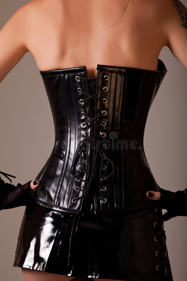 Woman Wearing Professional Waist Training Corset Stock Images